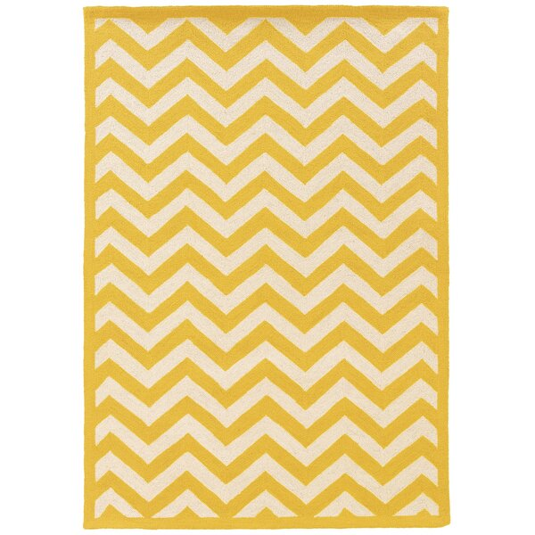 Hand-Hooked Yellow/Ivory Area Rug by The Conestoga Trading Co.