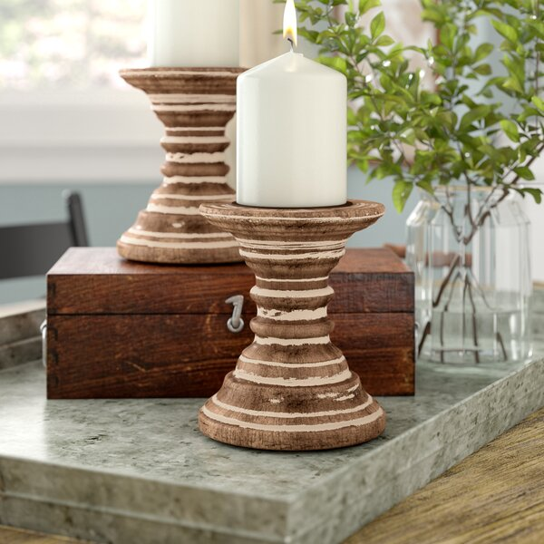 Daphne Wooden Candlestick (Set of 2) by August Gro