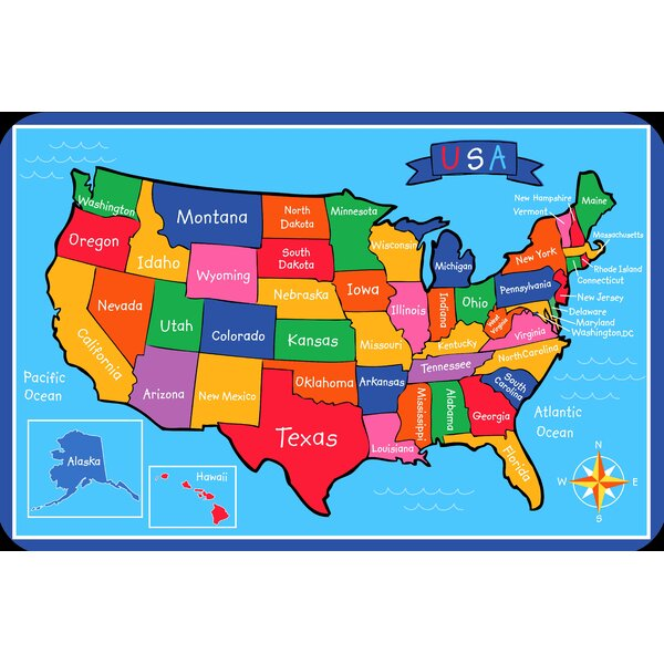 US Map Juvenile Vinyl Placemat (Set of 6) by Elrene Home Fashions