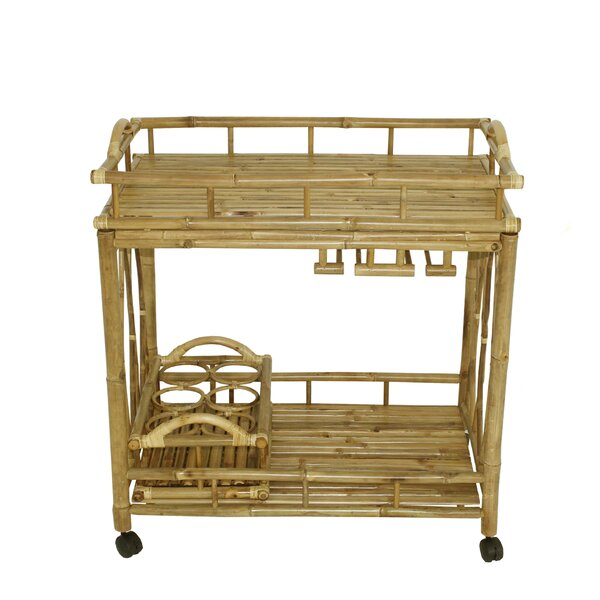 Alesandra Bamboo Rolling Wine Buffet Serving Bar Cart by Bayou Breeze Bayou Breeze