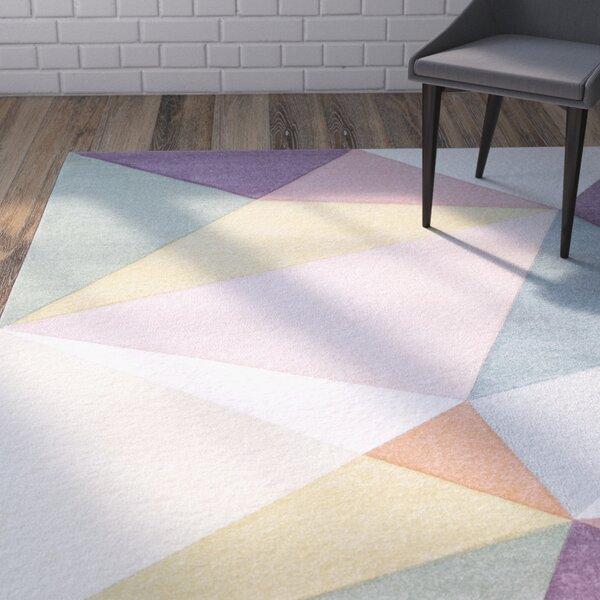 Mott Street Modern Geometric Carved Pink/Purple Area Rug by Wrought Studio