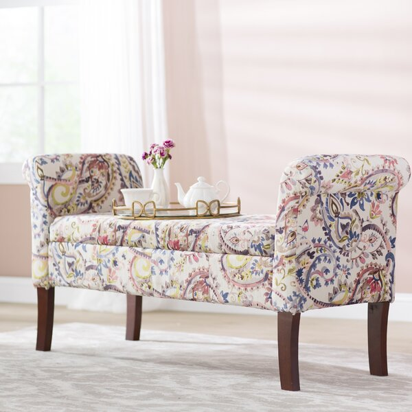 Keziah Floral Upholstered Storage Bench by Charlto