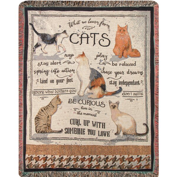 What We Learn from Cats Tapestry Cotton Throw by Manual Woodworkers & Weavers
