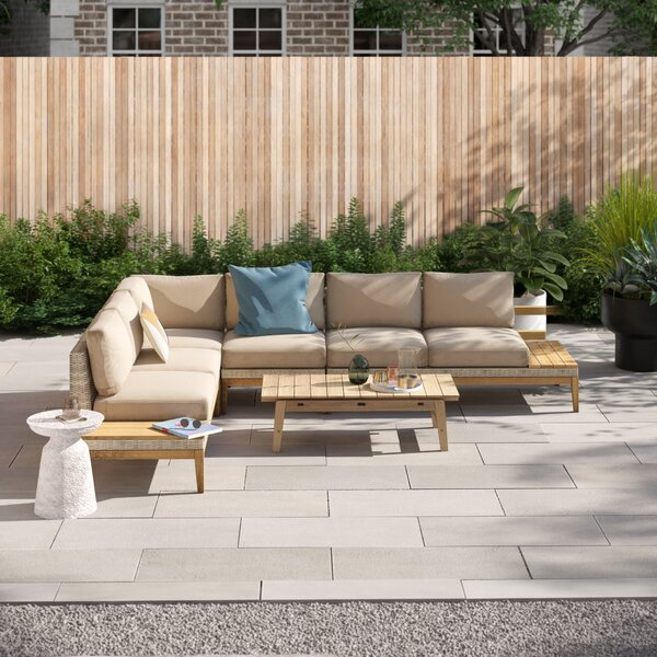 River Patio 4 Piece Sectional Seating Group with Cushions by Foundstone