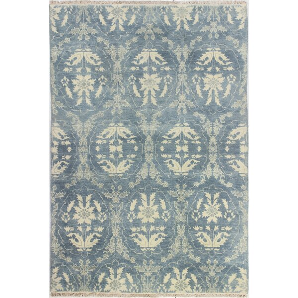 Bhairu Hand-Knotted Light Blue Area Rug by Bloomsbury Market