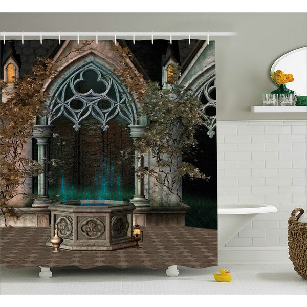 Gothic House Mystical Patio With Enchanted Wish Ivy Antique Gateway to Magical Forest Shower Curtain by Ambesonne