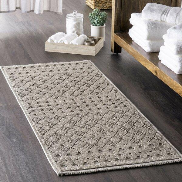 Tiara Rectangle 100% Cotton Geometric Bath Rug
