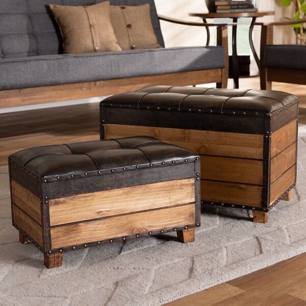Simmon 2 Piece Tufted Storage Ottoman Set by Millwood Pines