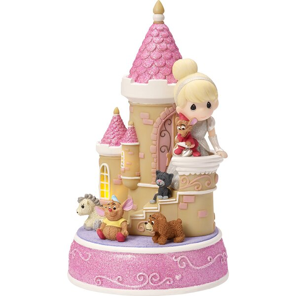 """Cinderella Castle"" Resin Music Box, LED Lights Figurine by Precious Moments"