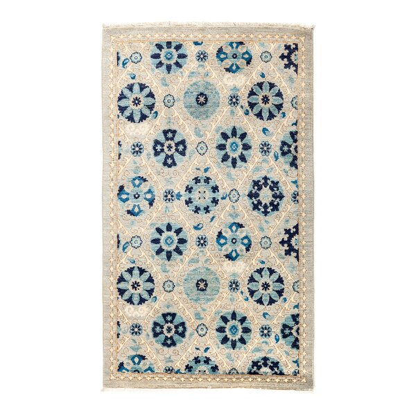 One-of-a-Kind Suzani Hand-Knotted Blue Area Rug by Darya Rugs