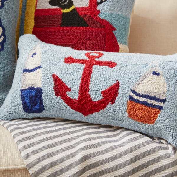 Biscay Anchor, Beach and Whale Hook Wool Lumbar Pillow by Beachcrest Home