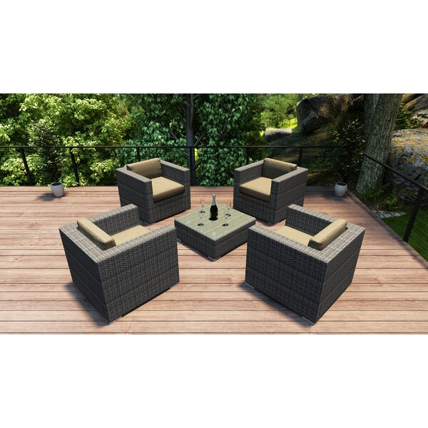 Hobbs 5 Piece Conversation Set with Cushions by Rosecliff Heights