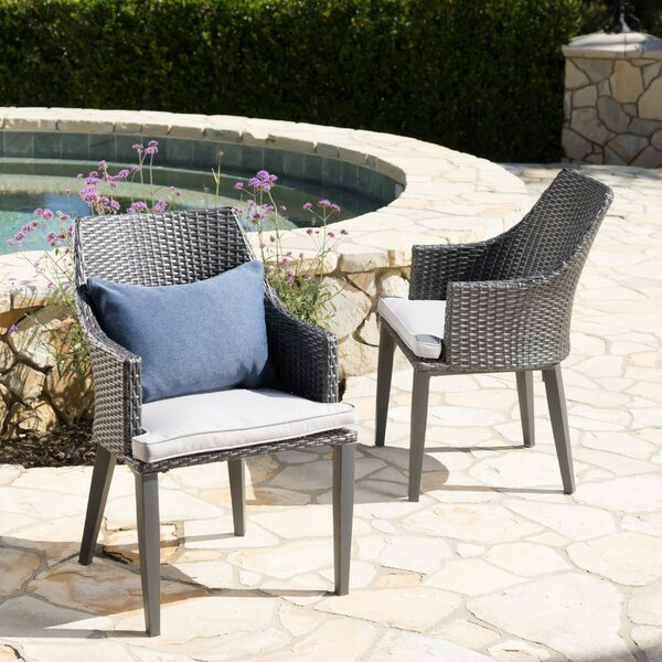 Backlund Wicker Patio Dining Chair with Cushion (Set of 2) by Ivy Bronx