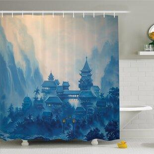 Nash Chinese Temple Paint Mist with Lanterns at Night Artsy Oriental Religious Image Shower Curtain Set ByLatitude Run