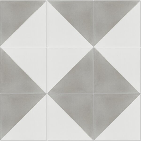 Man Overboard Featherstone 8 x 8 Cement Field Tile in Gray/White by Villa Lagoon Tile