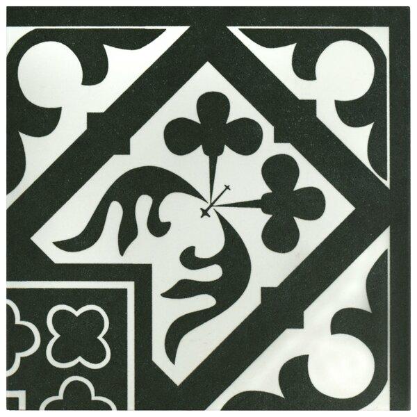 Seni Orleans Angulo 9.75 x 9.75 Porcelain Field Tile in Black by EliteTile