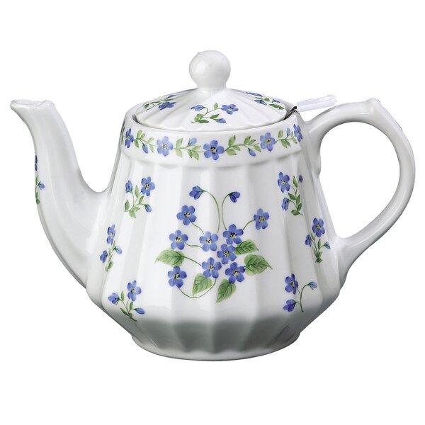 Forget Me Nots Ribbed 36 oz Porcelain China Teapot by Andrea by Sadek