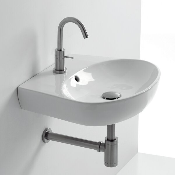 H10 Ceramic 20 Wall Mount Bathroom Sink with Overflow by WS Bath Collections