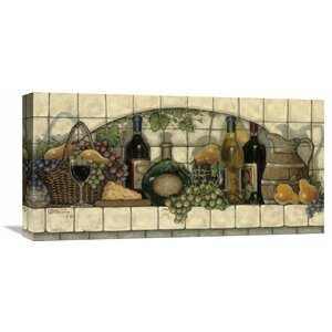 'Wine, Fruit' 'N Cheese Pantry' by Janet Kruskamp Painting Print on Wrapped Canvas by Global Gallery