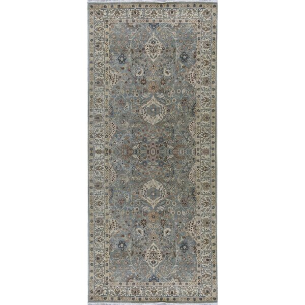 Hand-Knotted Wool Light Blue/Beige Rug