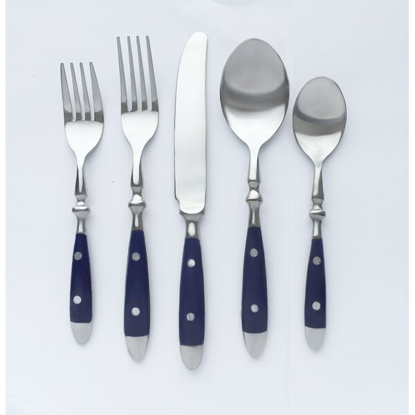 Townhouse Navy Blue 20 Piece Flatware Set by Cambridge Silversmiths