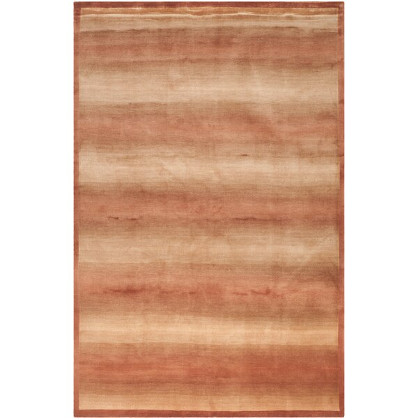Bernick Tibetan Hand Knotted Silk/Wool Rust Area Rug by Red Barrel Studio
