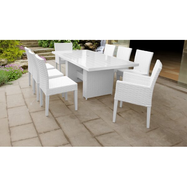 Burgoon 9 Piece Outdoor Patio Dining Set with Cushions by Orren Ellis