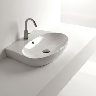 Find H10 Ceramic Oval Vessel Bathroom Sink with Overflow By WS Bath Collections