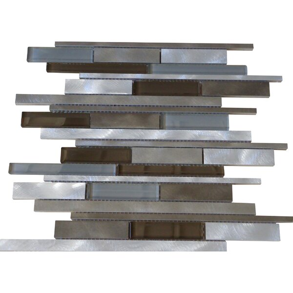 Urban Random Sized Aluminum and Glass Metal Look Tile in 4 Color Blend by Mulia Tile
