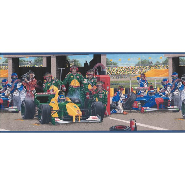 Argent Race Track Pit Stop Racing Cars Realistic Extra Wide Wall Border by Zoomie Kids