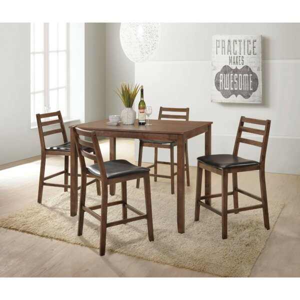 Moldenhauer Wooden Slatted Back Chairs 5 Piece Counter Height Pub Table Set by Winston Porter