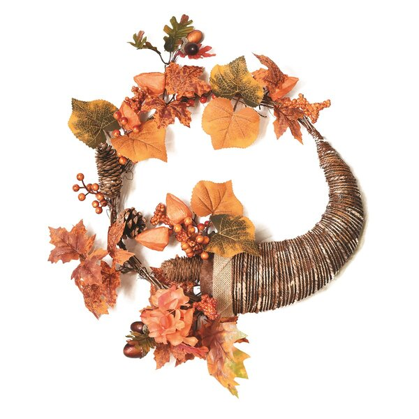 Autumn Harvest 20 Artificial Pinecones, Berries and Leaves Cornucopia Wreath by Northlight Seasonal