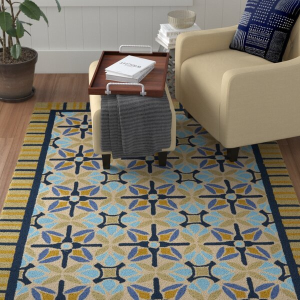Doyle Tan/Blue Indoor/Outdoor Area Rug by Winston Porter