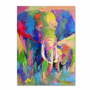 'Elephant 1' by Richard Wallich Painting Print on Wrapped Canvas by Trademark Fine Art