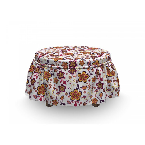 Floral Blooming Flower 2 Piece Box Cushion Ottoman Slipcover Set By East Urban Home