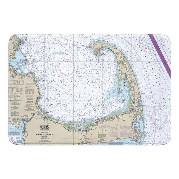 Nautical Chart Cape Cod MA Rectangle Memory Foam Non-Slip Bath Rug