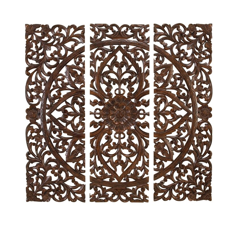 Wood Carved Wall Decor abchomecollection 3 piece wooden carved wall décor | wayfair