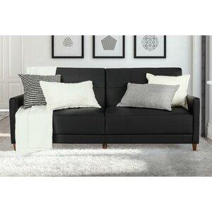 Benitez Faux Leather Convertible Sofa by Mercury Row