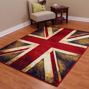 Delightful American Patriot Flag Of England Union Maroon Red/Black Area Rug