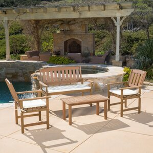 Carson Wood 4 Piece Bench Seating Group With Cushion