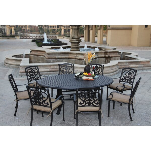Batista 9 Piece Dining Set with Cushions by Fleur De Lis Living