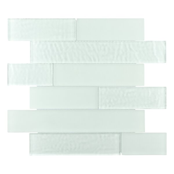 Nieve Random Sized Panel Glass Mosaic Tile in Glacier White by EliteTile