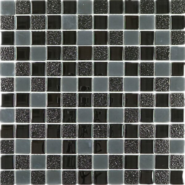 1 x 1 Glass Tile in Black/Gray by Multile