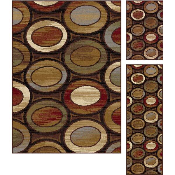 Williston 3 Piece Red/Beige Area Rug Set by Threadbind