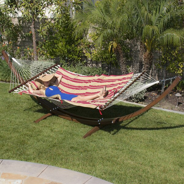 Willing Wooden Curved Arc Hammock with Stand by Loon Peak