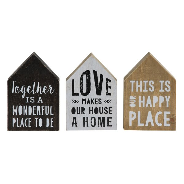 Sayings Decorative 3 Piece Letter Block Set by Creative Co-Op