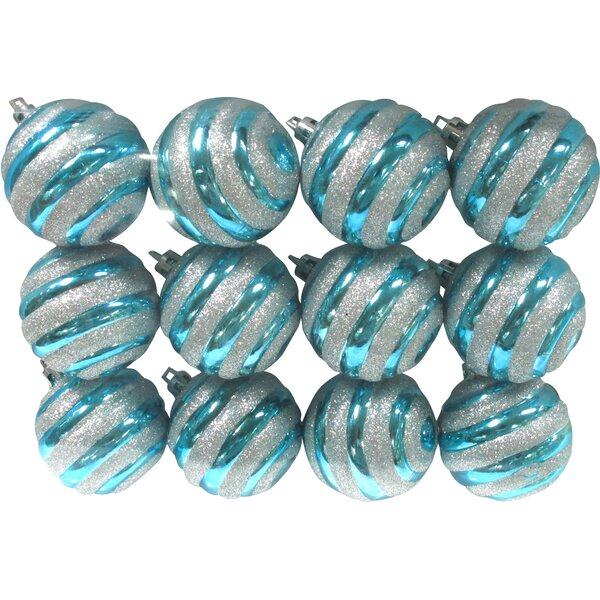 Aqua Ball Ornament with Silver Glitter Line Design (Set of 3) by The Holiday Aisle