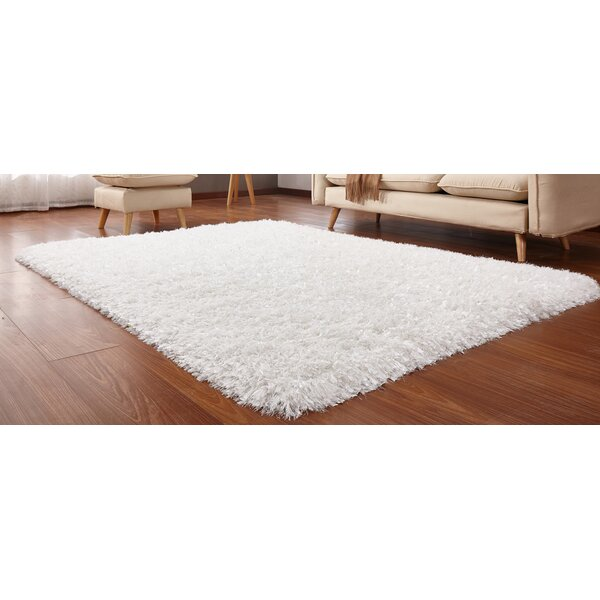 Heineman Solid Shag Hand-Tufted Off-White Area Rug by Latitude Run