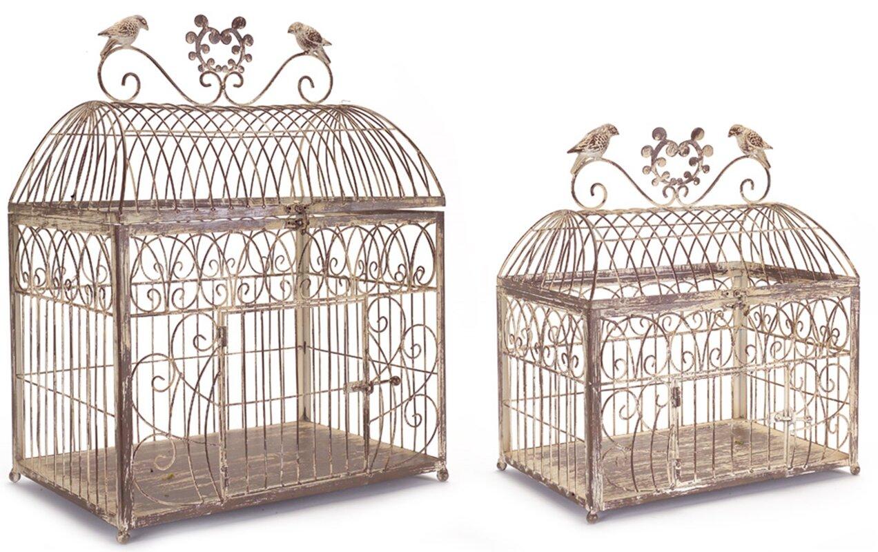2 piece rustic wire decorative bird cage set - Decorative Bird Cages