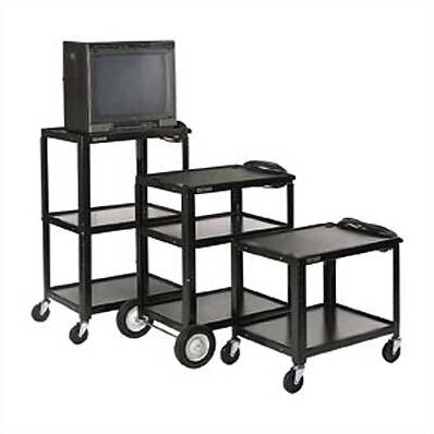 Open Shelf Fixed Height Table AV Cart with Big Wheels by Luxor